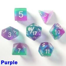 Aurora Gem Poly 7 Dice RPG Set Purple Pathfinder 5e Dungeon Dragon Role Play HD