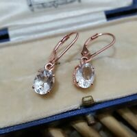 ROSE GOLD PLATED EARRINGS, 925 STERLING SILVER, NATURAL ZIRCON, LEVERBACK