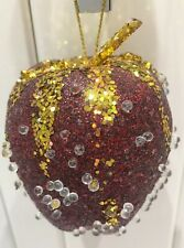 Burgundy And Gold Apple Crystal Christmas Tree Bauble Ornament