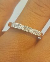 0.50 CT Diamond Womens Wedding Band 14k Solid White Gold Baguette Ring