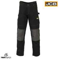 JCB Cheadle Pro Black Cargo Combat Multi Pocket Heavy Duty Work Trousers Pants