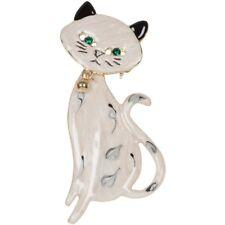 NEW Gold Tone Movable Siamese Kitty Black White Enamel Green Resin Eyes Brooch