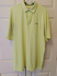 Men Under Armour Solid Highlighter Yellow Polo Golf Shirt Size XL