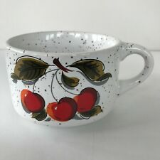 Vintage Ceramic Soup Mugs Bowls W/ Handles Cherries Brown Speckles on White