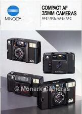 Minolta AF E, Sv, S & C Compact Camera Brochure. More Guides & Catalogues Listed