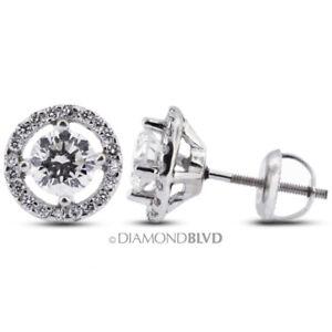 1.28ct tw E SI2 Round Earth Mined Certified Diamonds 14K Gold Halo Fine Earrings