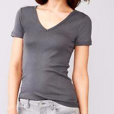Gap Woman Modern V-neck Dark Grey short sleeve basic tee t-shirt