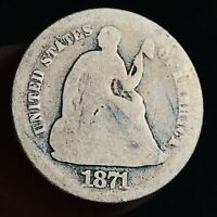 1871 Seated Liberty Half Dime 5C Ungraded Worn Date Good US Silver Coin CC6452