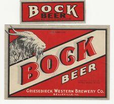 Griesedieck Western Brewery Bock Beer label with neck IRTP U# Belleville IL