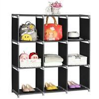 3 Tier Storage Cube Closet Organizer Shelf 9 Cube Cabinet Bookcase Storage Black