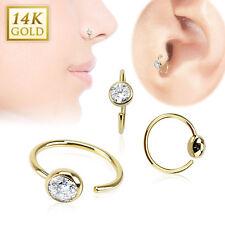 14 Karat 14K Solid Yellow Gold Ball CZ Nose Lip Tragus Snug Hoop Ring Piercing
