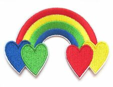 Rainbow Hearts Iron On Patch- Peace Badge Hippy Gift Embroidered Applique