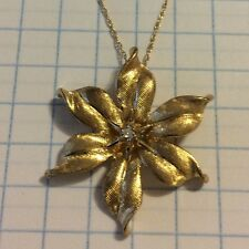 14K YELLOW GOLD DIAMOND FLOWER PENDANT NECKLACE PIN