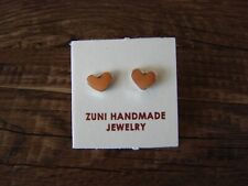 Zuni Indian Sterling Silver Spiny Oyster Post Heart Earrings - Neha