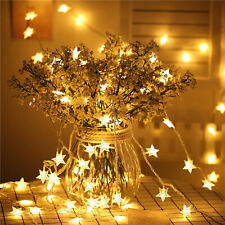 2.5M LED String Star Fairy Lights Warm White Home Bedroom Xmas Party Decor US