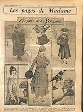 Manteau de Duvetyne Tête de Nègre garni de Loutre Mode Fashion Croquis WWI 1916