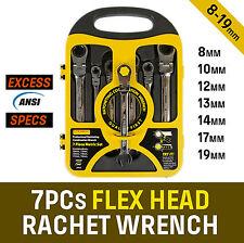 7 Piece Flex Head Gear Wrench Ratchet Open End Spanner Set Metric 8-19MM