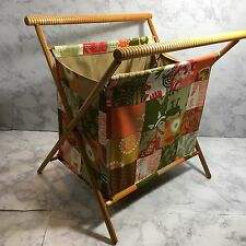 Vtg Folding Sewing Knitting Basket Tote Cloth Bag Patchwork Fabric Wood Frame