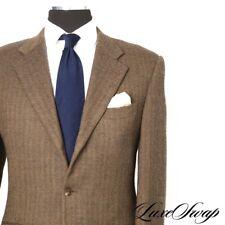 Corneliani Italy Cashmere Wool Brown Olive Mottled Herringbone Tweed Jacket 50