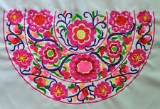 Antique miao hmong machinemade tribal half round embroidery Rosy Flowers 23066