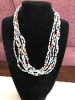 Vintage Boheniman Boho Blue Brown White Seed Bead Necklace