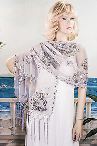 Long Sheer Embroidery Sequin Shawl Wrap Scarf Evening Prom Wedding - W295