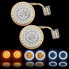 LED 1157 Bullet Turn Signal Light Inserts Amber White For Harley Touring 14-17