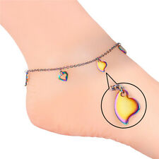 U7 Stainless Steel Anklet Multi-color Heart Charms Ankle Foot Chain Sandal Beach