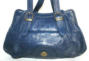 ❤️ BICA CHEIA Blue Premium Patent Leather Satchel Bag 8x3.5x13.5 GREAT! L@@K!