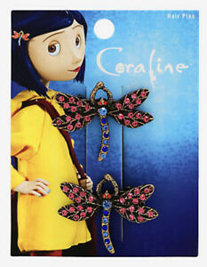 Coraline Dragonfly Sparkly CZ Gems Burnished Gold Tone Replica Hair Clip Set