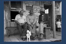 1938 Black Men on Porch of Store PHOTO, Louisiana GREAT DEPRESSION Rural America