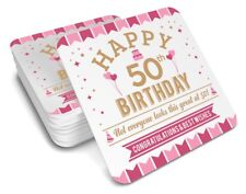 50th Birthday Happy Gift Present Idea Women Female Keepsake Lady Coffee Coaster