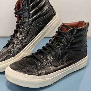 VANS Mens 5 5Y Womens 6.5 Black Croc Leather SK8 Hi Slim Zip Sneakers Shoes EUC