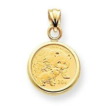 14k Yellow Gold 1/20 oz Fancy Mounting Panda Coin Polished Plain Bezel Pendant