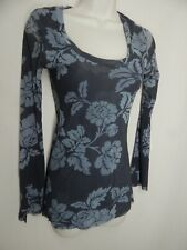 SWEET PEA by Stacy Frati Gray Floral Scoop Neck Stretch Mesh Top