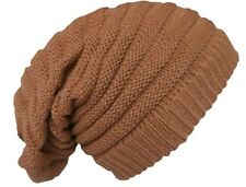 Rasta Beanie Hat Long Slouch Ribbed Light Brown Colour Baggy Marley Reggae Style