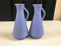 2 - vintage Flora Gouda Holland Aqua Blue Mini Pitchers 1 Small Hairline 4 7/8""