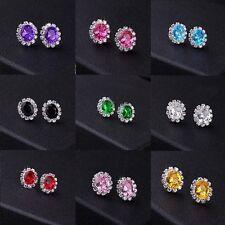Diamante Women Girls Rhinestone Crystal Oval Stud Earrings Wedding Party Gifts