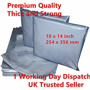 100 x Strong Grey Postal Mailing Bags 10x14 inch 254 x 356 mm Special Offer UK