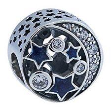 Authentic Pandora Midnight Blue Enamel Vintage Night Sky Bead 791992CZ w/ Pouch