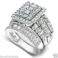 INVISIBLE PRINCESS COLLATE ENGAGEMENT RING AND WEDDING BAND SET IN 925 SILVER