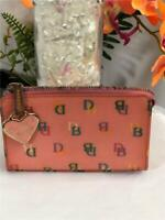 Dooney & Bourke DB Monogram Pink Coated PVC Small Compact Zips Makeup Pouch