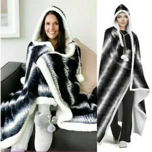 STYLISH HOODED SNUGGLE BLANKET SUPER SOFT FLEECE SHERPA CHARCOAL & RED (DOUBLE)
