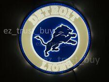 "New Detroit Lions Led 3D Neon Sign 17"" Bar Lamp Decor Poster"