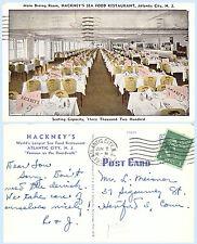 Hackneys Seafood Restaurant Atlantic City New Jersey 1954 Postcard Interior View