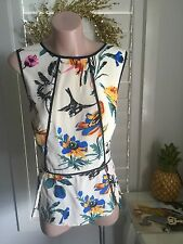 Authentic Tibi Printed Silk Crepe De Chine Peplum Top Size 8-10 RRP$550