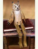 "Victorian Trading Co Whittled Wooden Owl Shelf Sitter Figurine 14""  NIB"