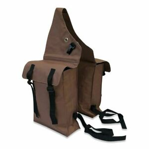 Horse Riding Saddle Bags Pack Trekking Trail Pommel Brown Double Western English