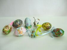 Set of (6) Easter Eggs And Rabbit Paper Mache Wood Resin Combination