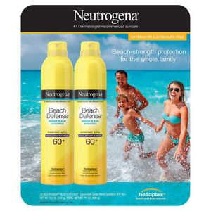 Neutrogena Beach Defense Sunscreen Spray Broad Spectrum SPF 60+ 8.5oz, (2 PACK)